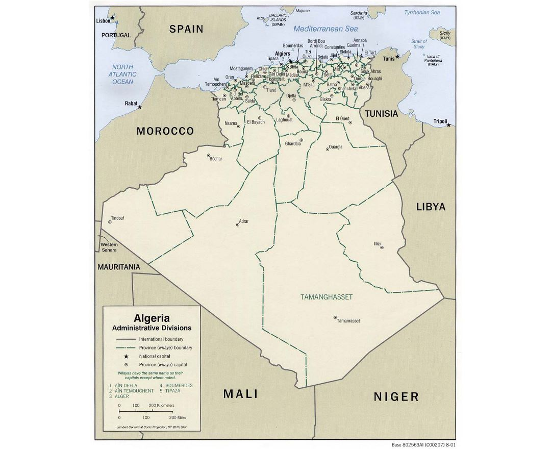 Detailed administrative divisions map of Algeria - 2001