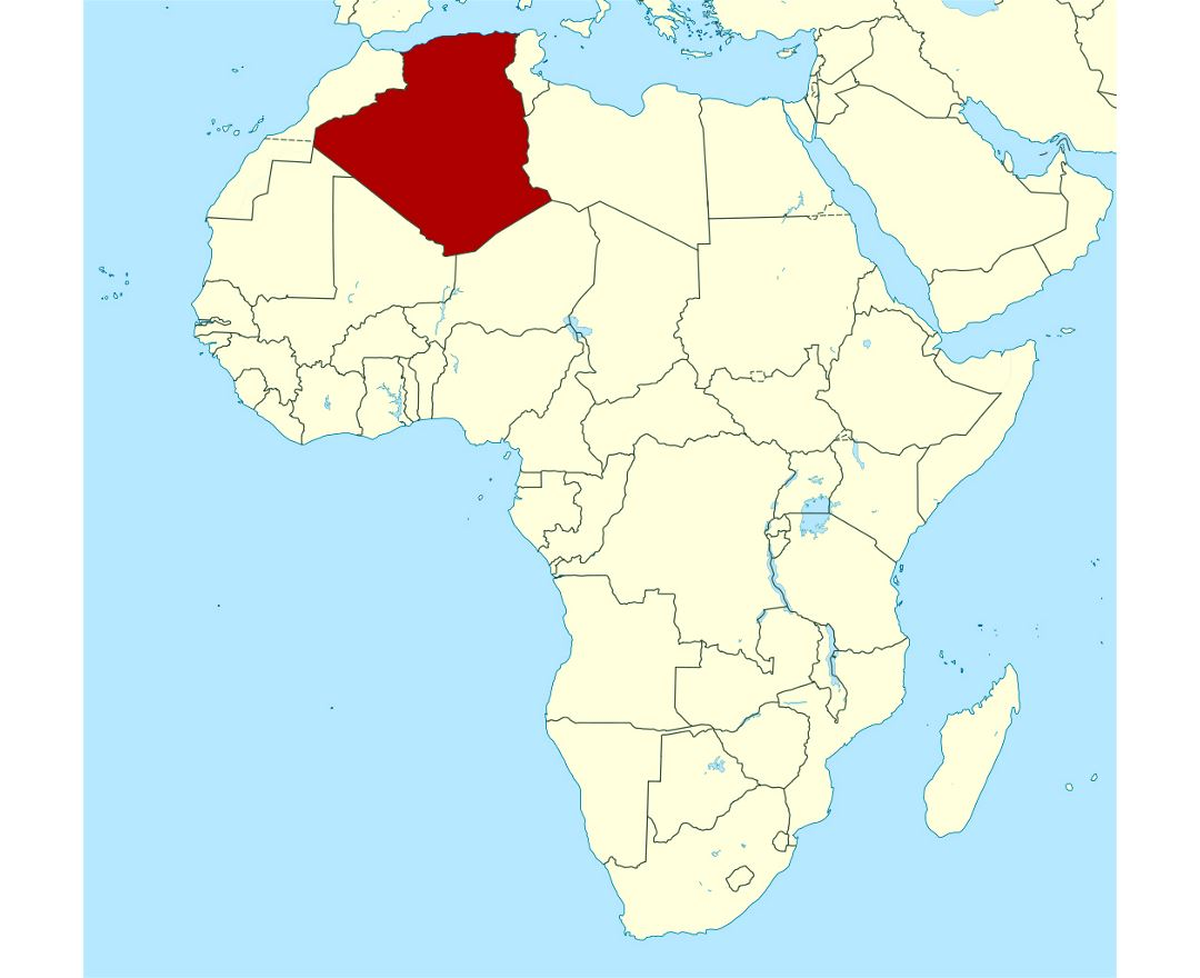 Detailed location map of Algeria