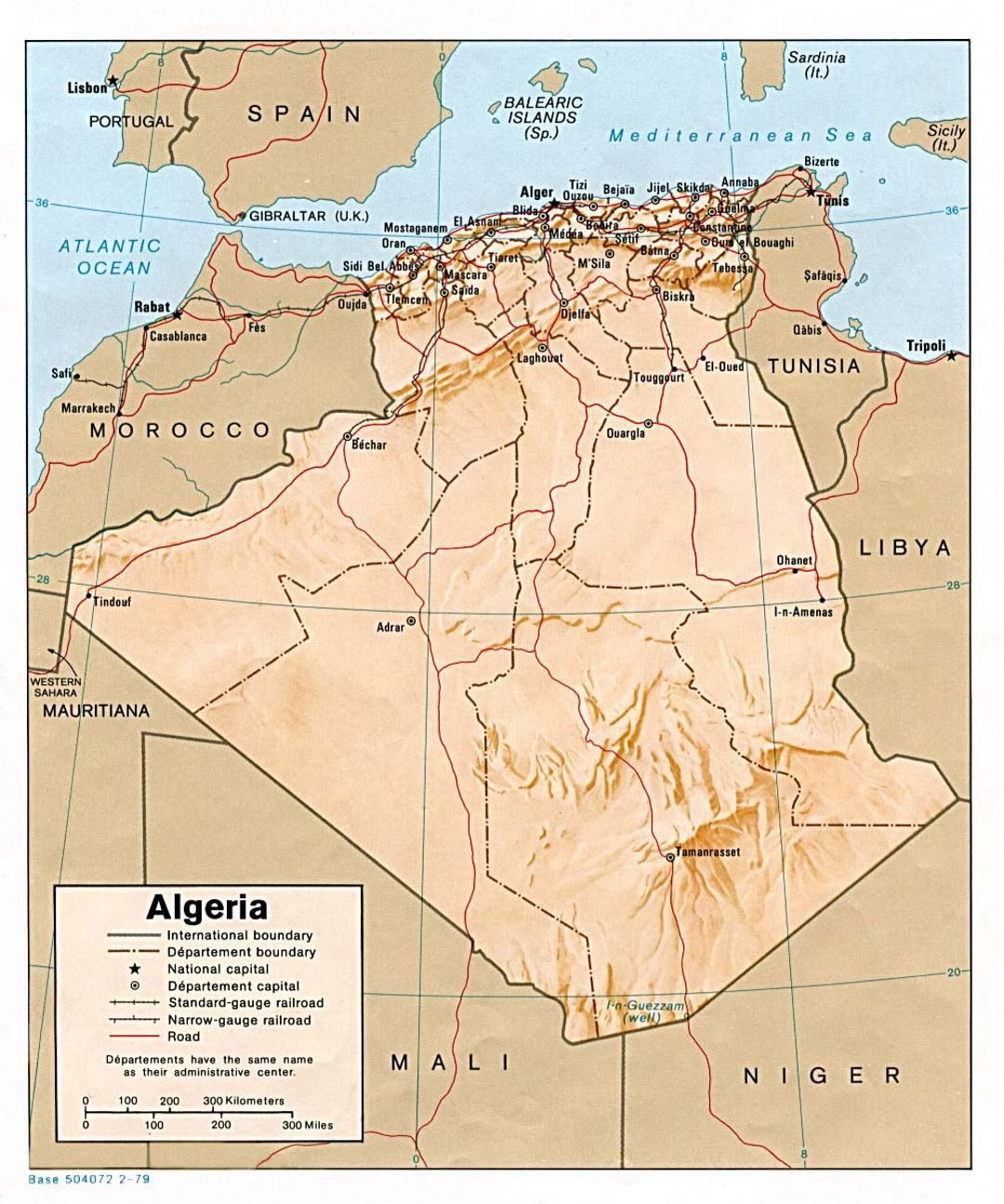 Detailed political and administrative map of Algeria with relief, roads, railroads and major cities - 1979
