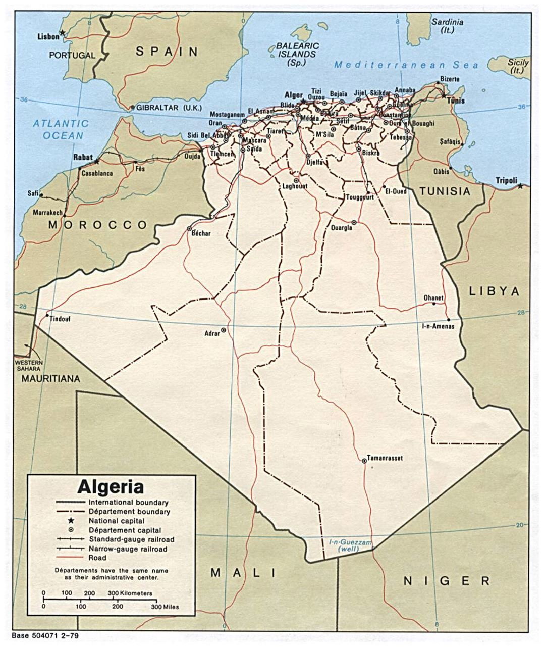 Detailed political and administrative map of Algeria with roads, railroads and major cities - 1979