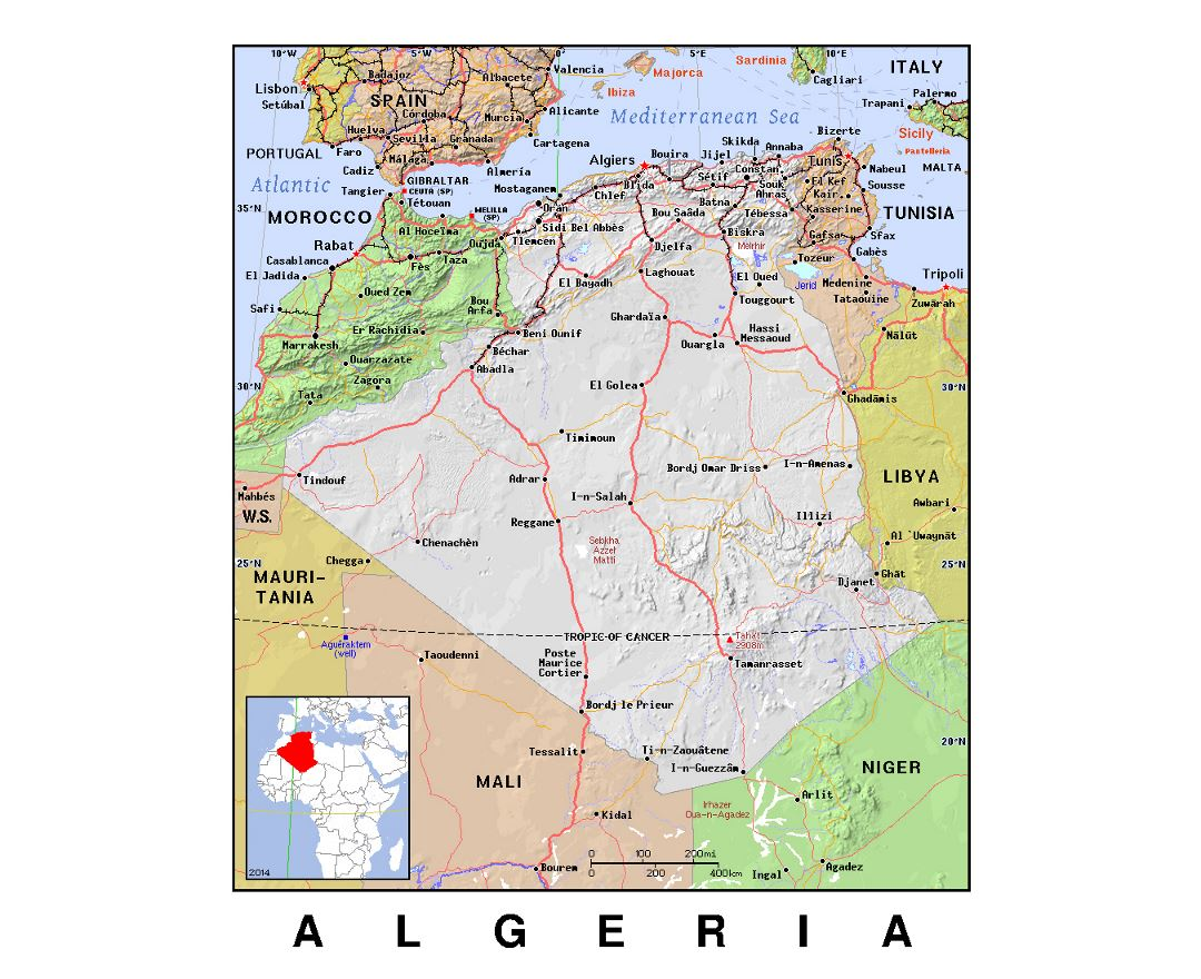 Detailed political map of Algeria with relief