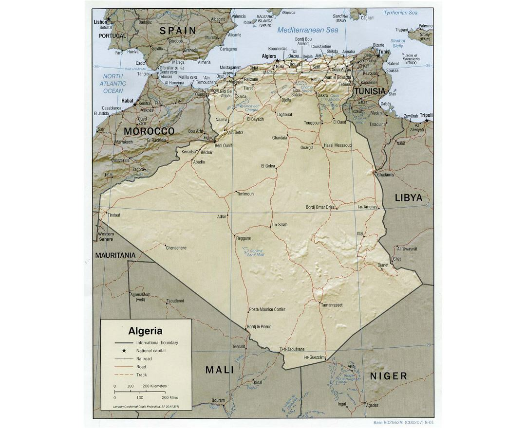 Detailed political map of Algeria with relief, roads, railroads and major cities - 2001