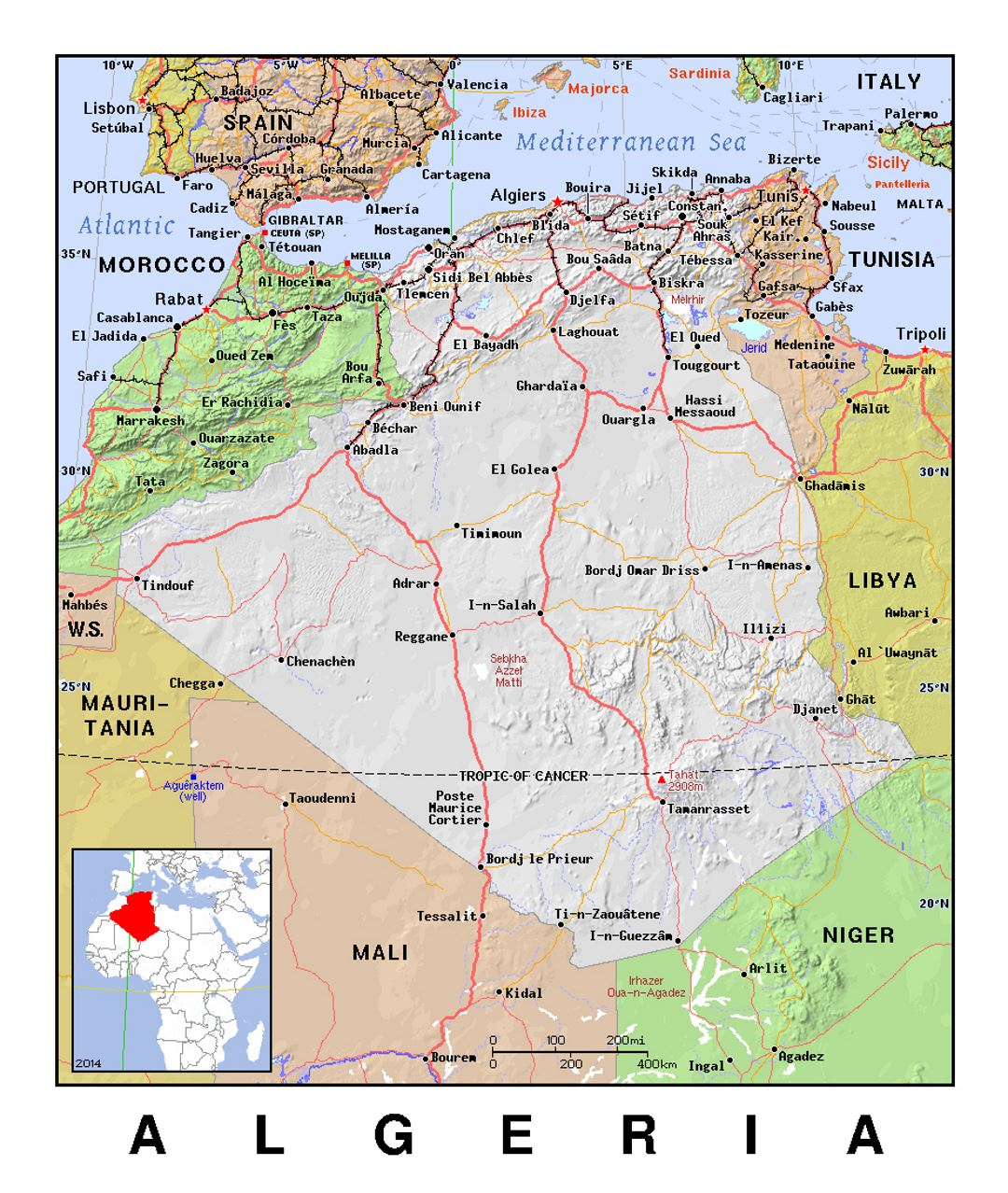 Detailed political map of Algeria with relief | Algeria ...