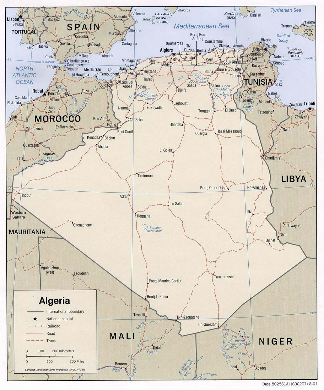 Detailed political map of Algeria with roads railroads and major