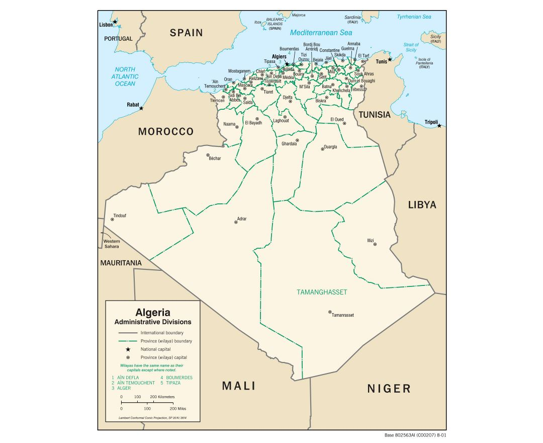 Large detailed administrative divisions map of Algeria - 2001