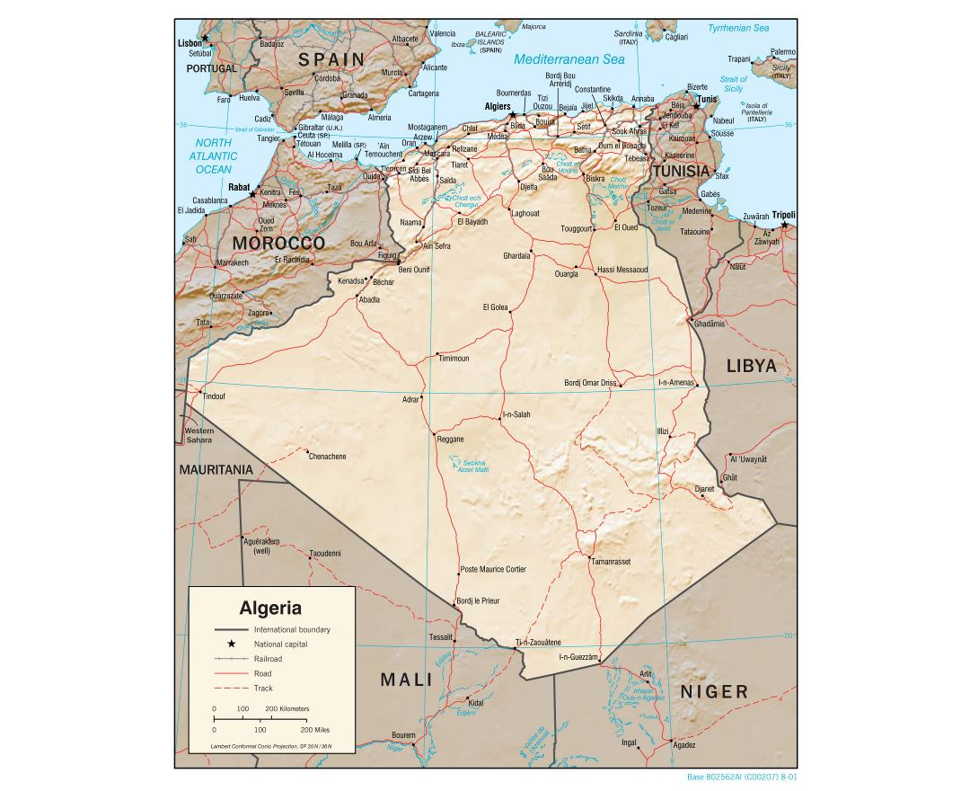 Large detailed political map of Algeria with relief, roads, railroads and major cities - 2001