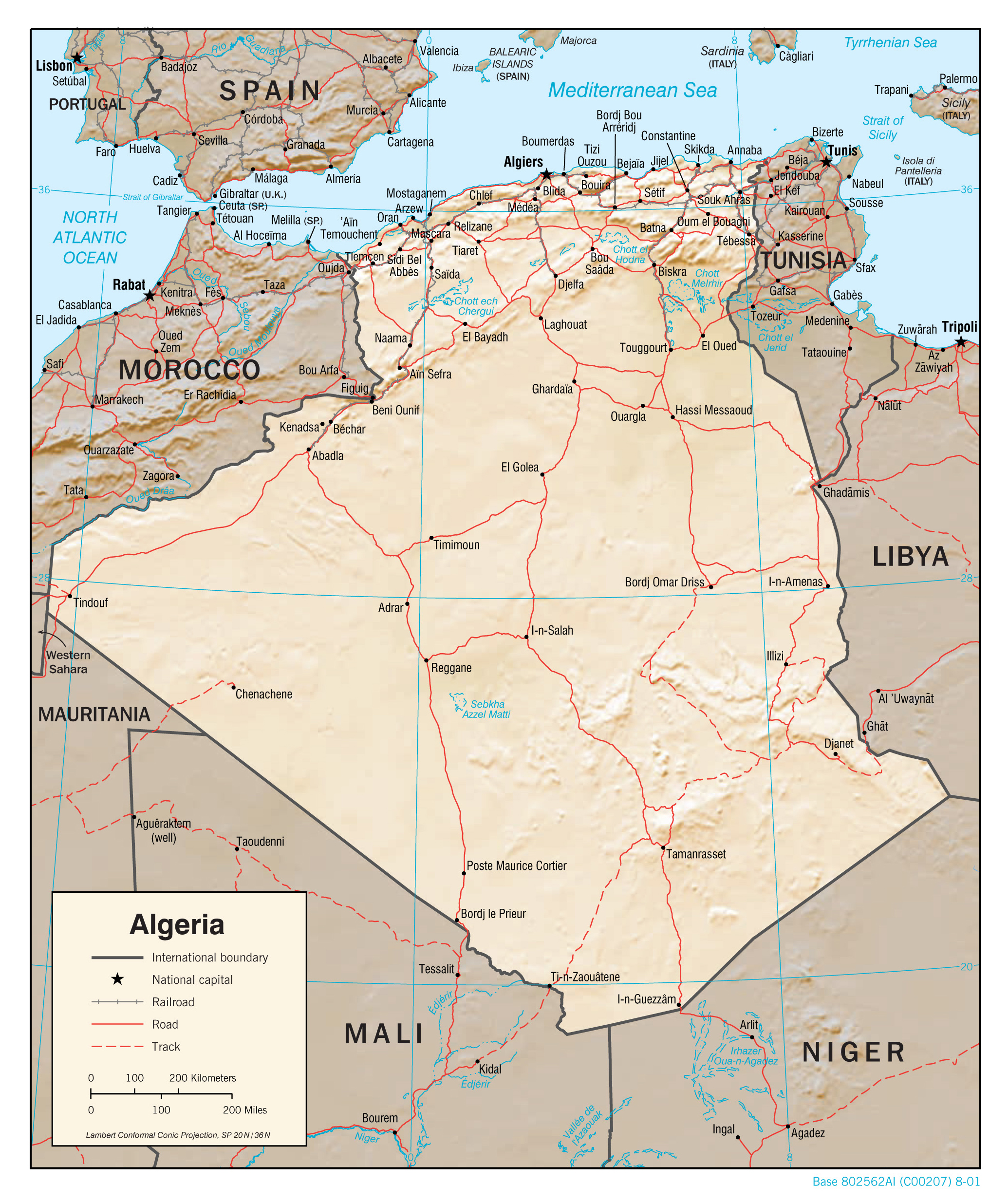 Large detailed political map of Algeria with relief roads