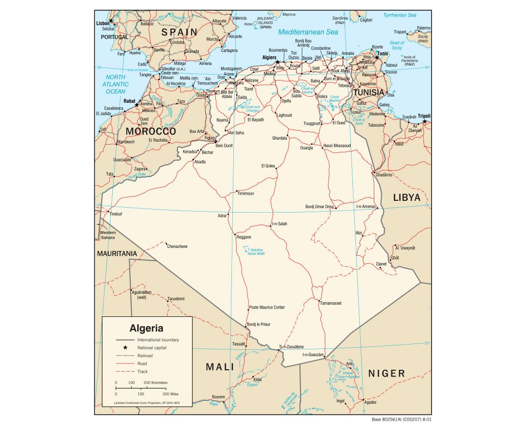 Large detailed political map of Algeria with roads, railroads and major cities - 2001