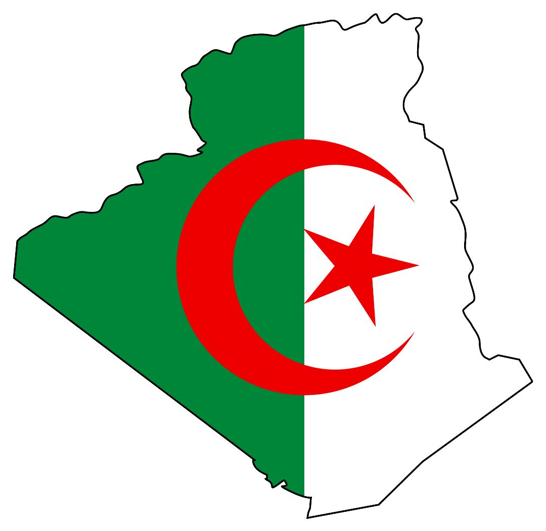 Large flag map of Algeria