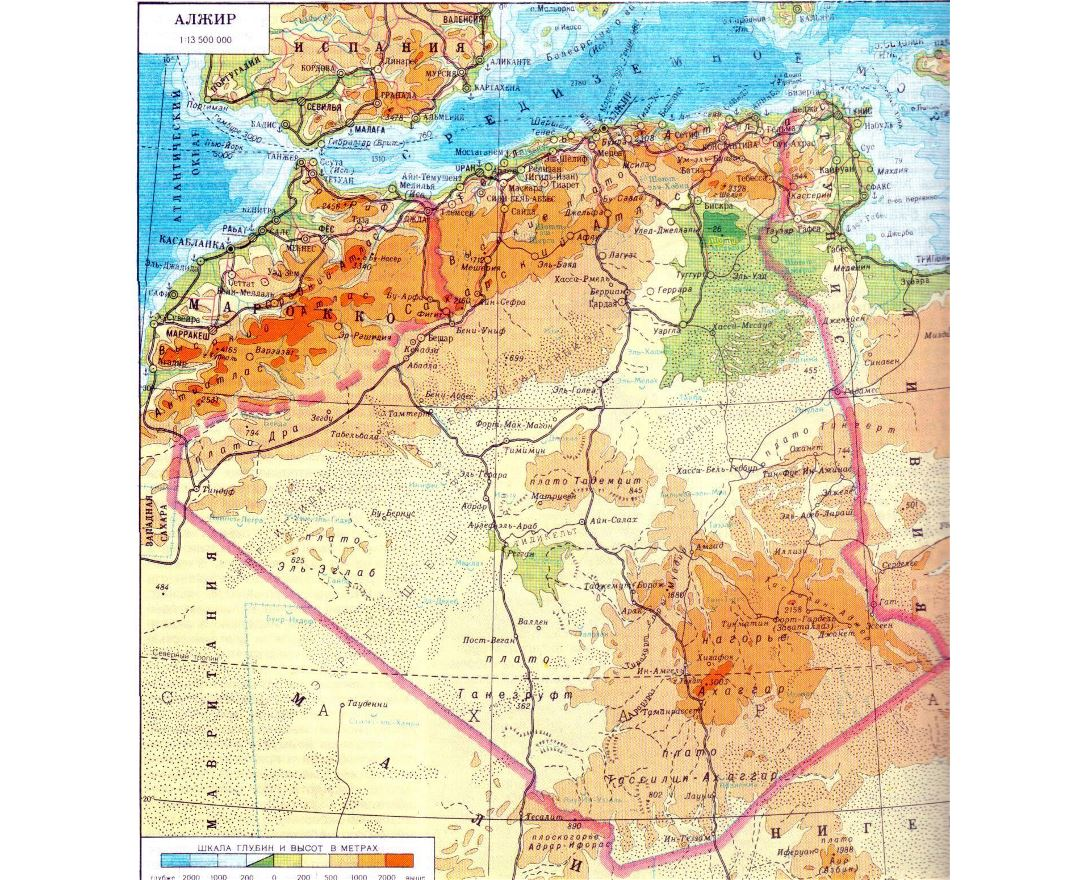 Large physical map of Algeria in russian