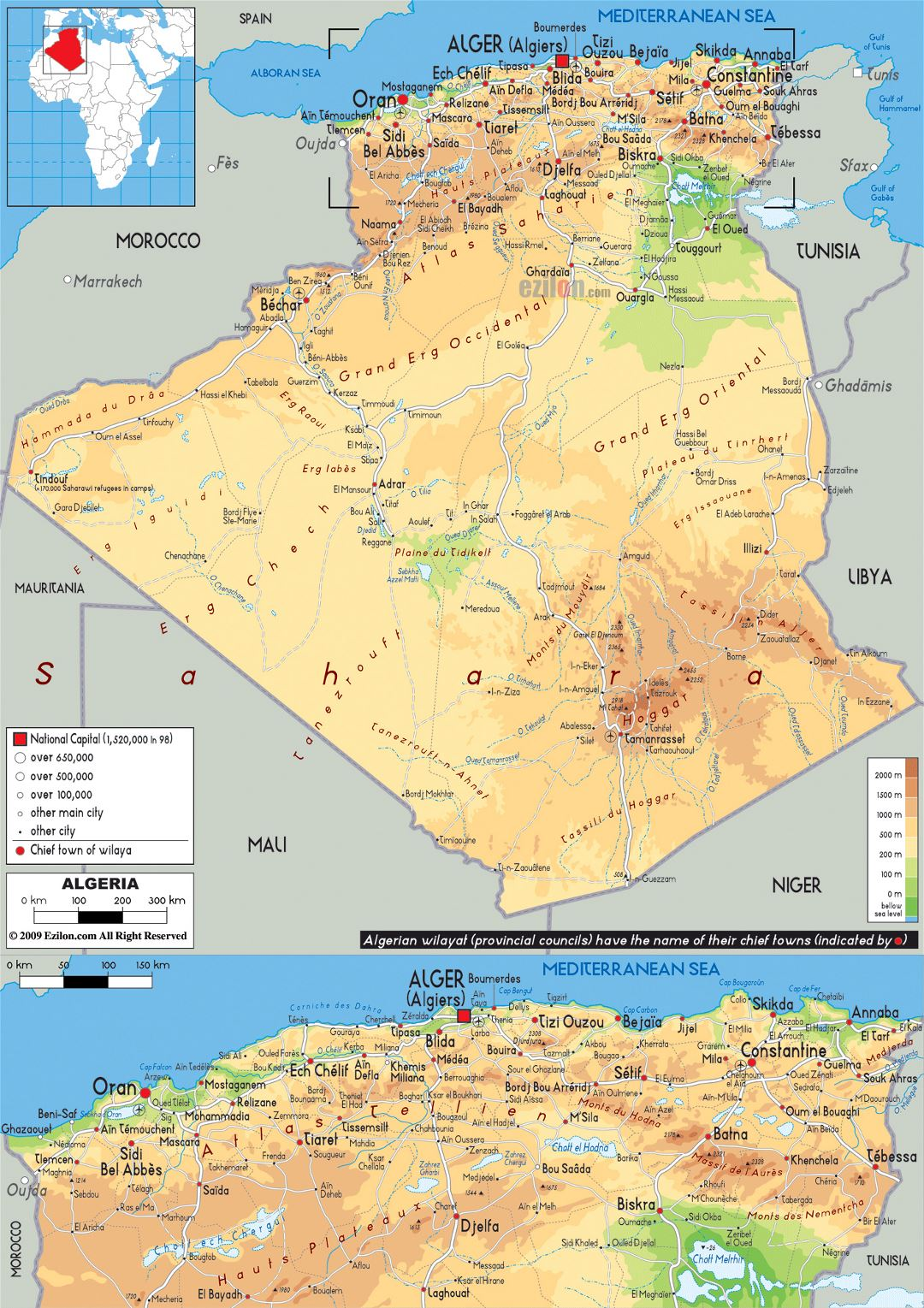 Large physical map of Algeria with roads, cities and airports