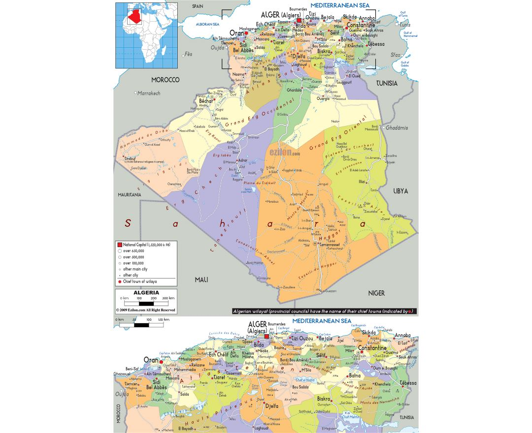Large political and administrative map of Algeria with roads, cities and airports