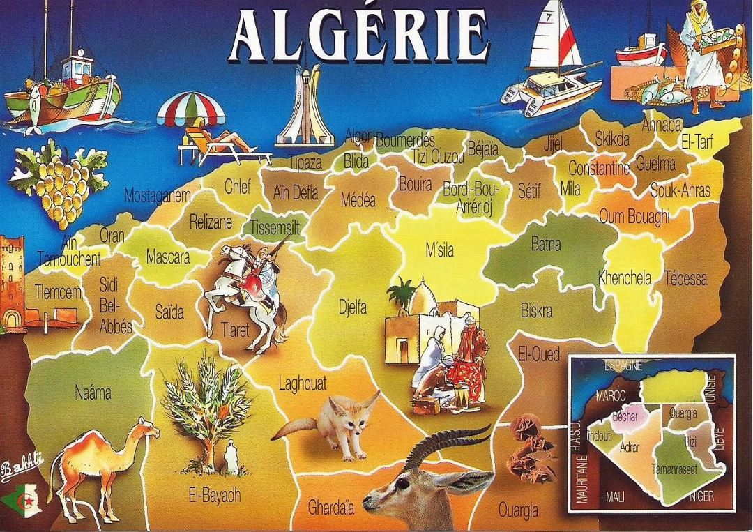 Large postcard map of Algeria