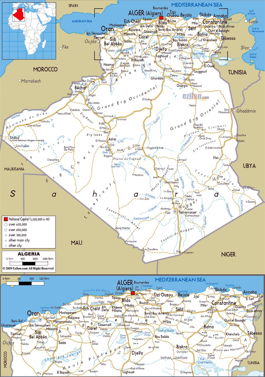 Large road map of Algeria with cities and airports
