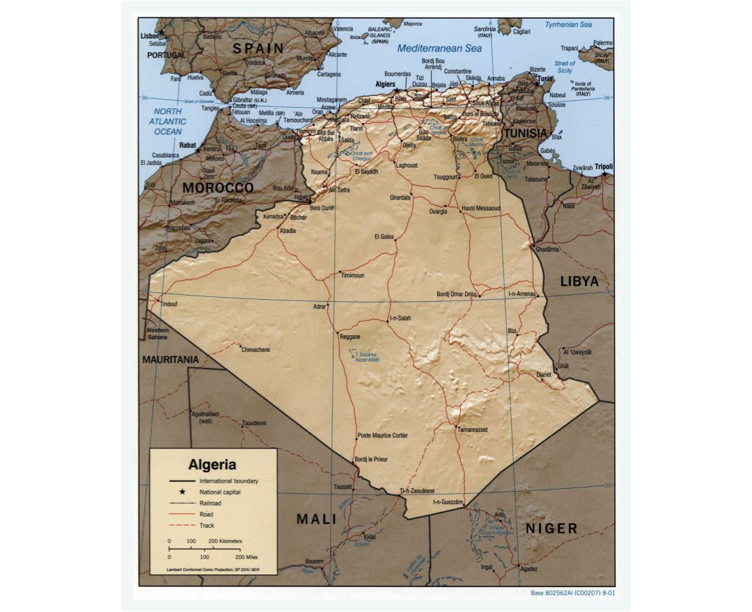 Large scale political map of Algeria with relief, roads, railroads and major cities - 2001