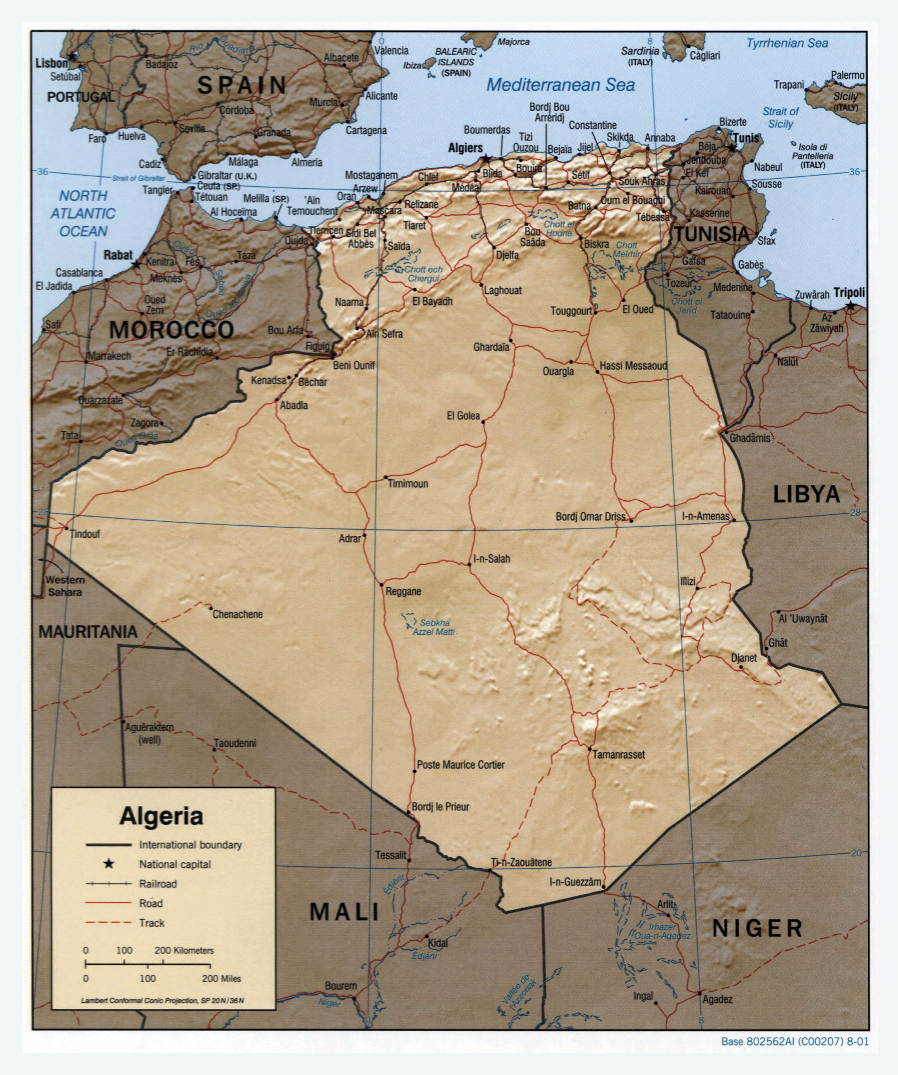 Large Scale Political Map Of Algeria With Relief Roads Railroads - Cities map of algeria