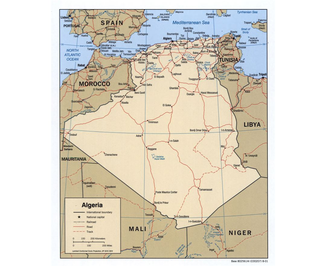 Large scale political map of Algeria with roads, railroads and major cities - 2001