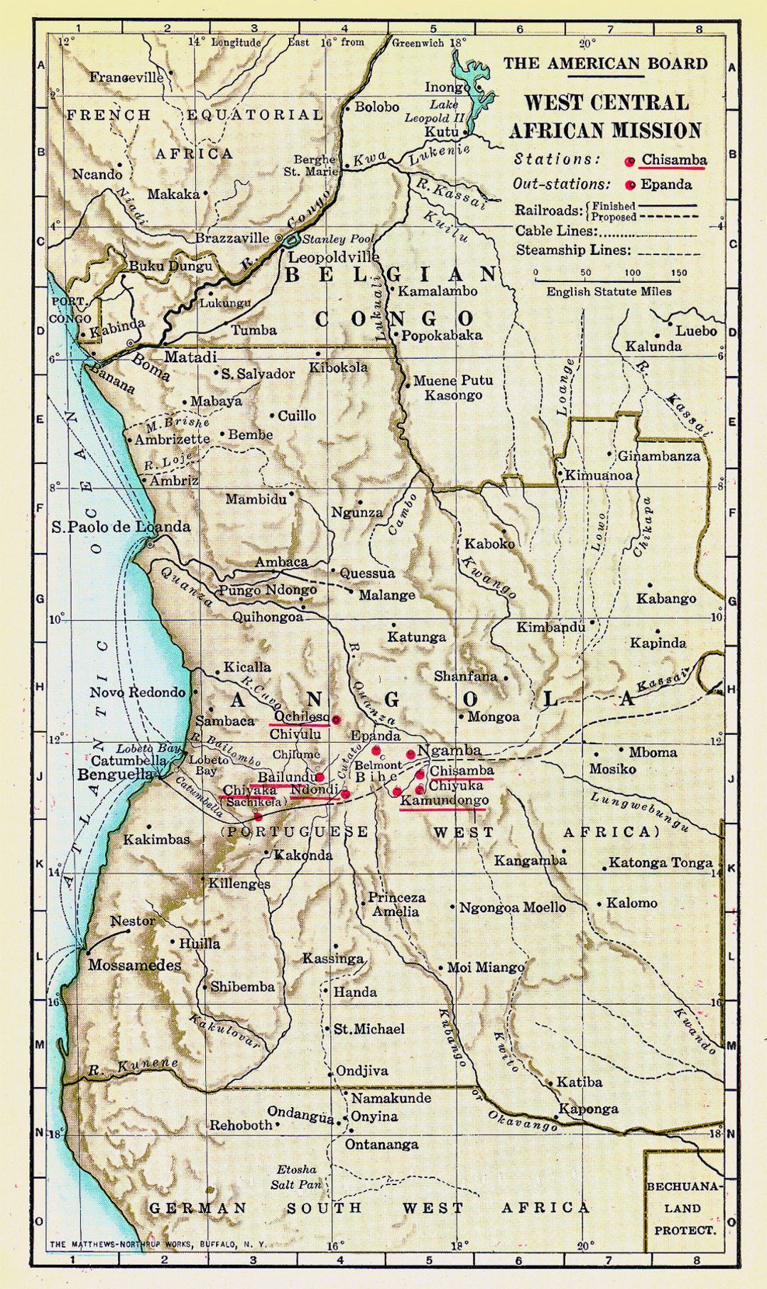 Detailed old map of Angola with relief, railroads and cities