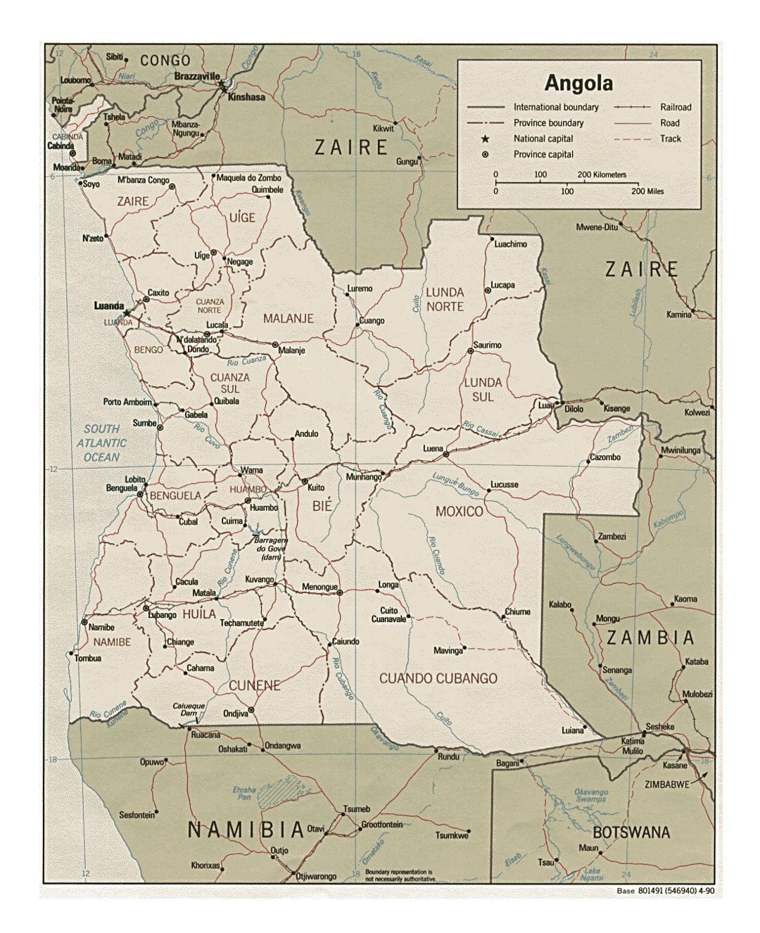 Detailed political and administrative map of Angola with roads, railroads and major cities - 1990