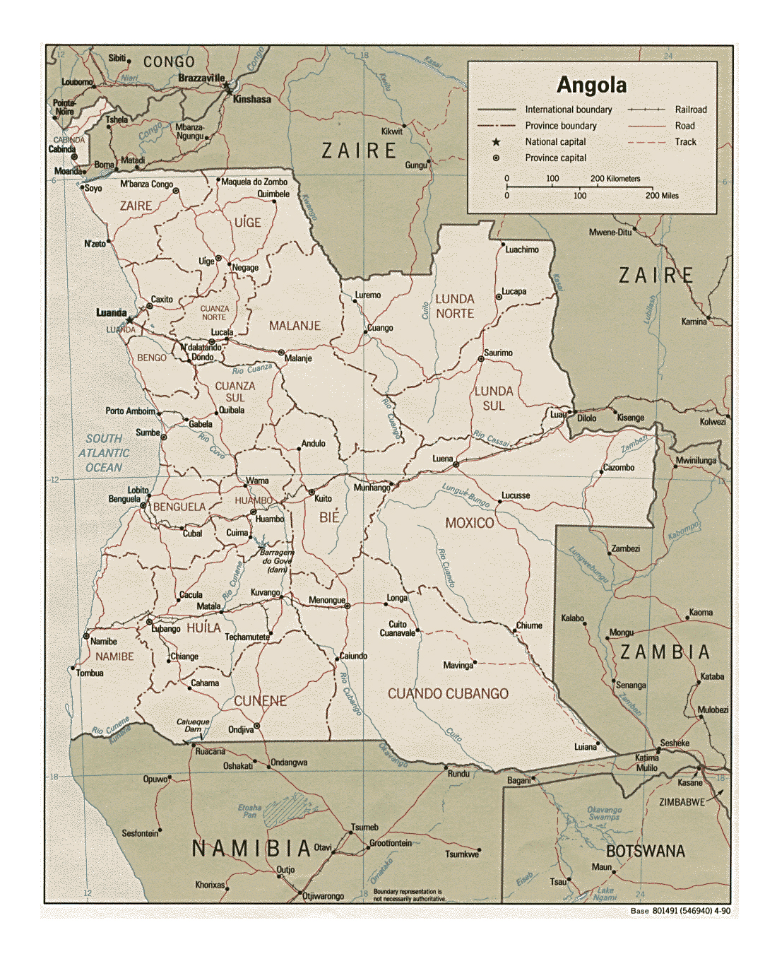 Detailed political and administrative map of Angola with roads