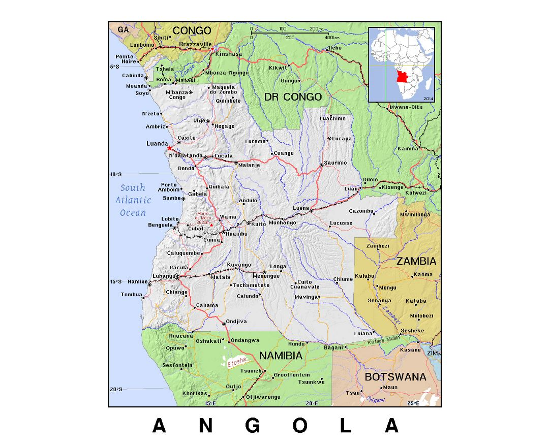 Detailed political map of Angola with relief