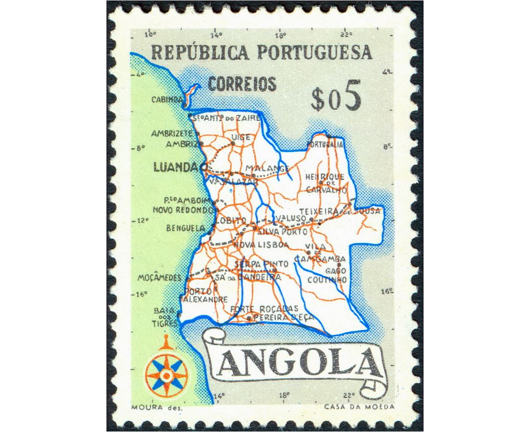 Detailed post stamp map of Angola