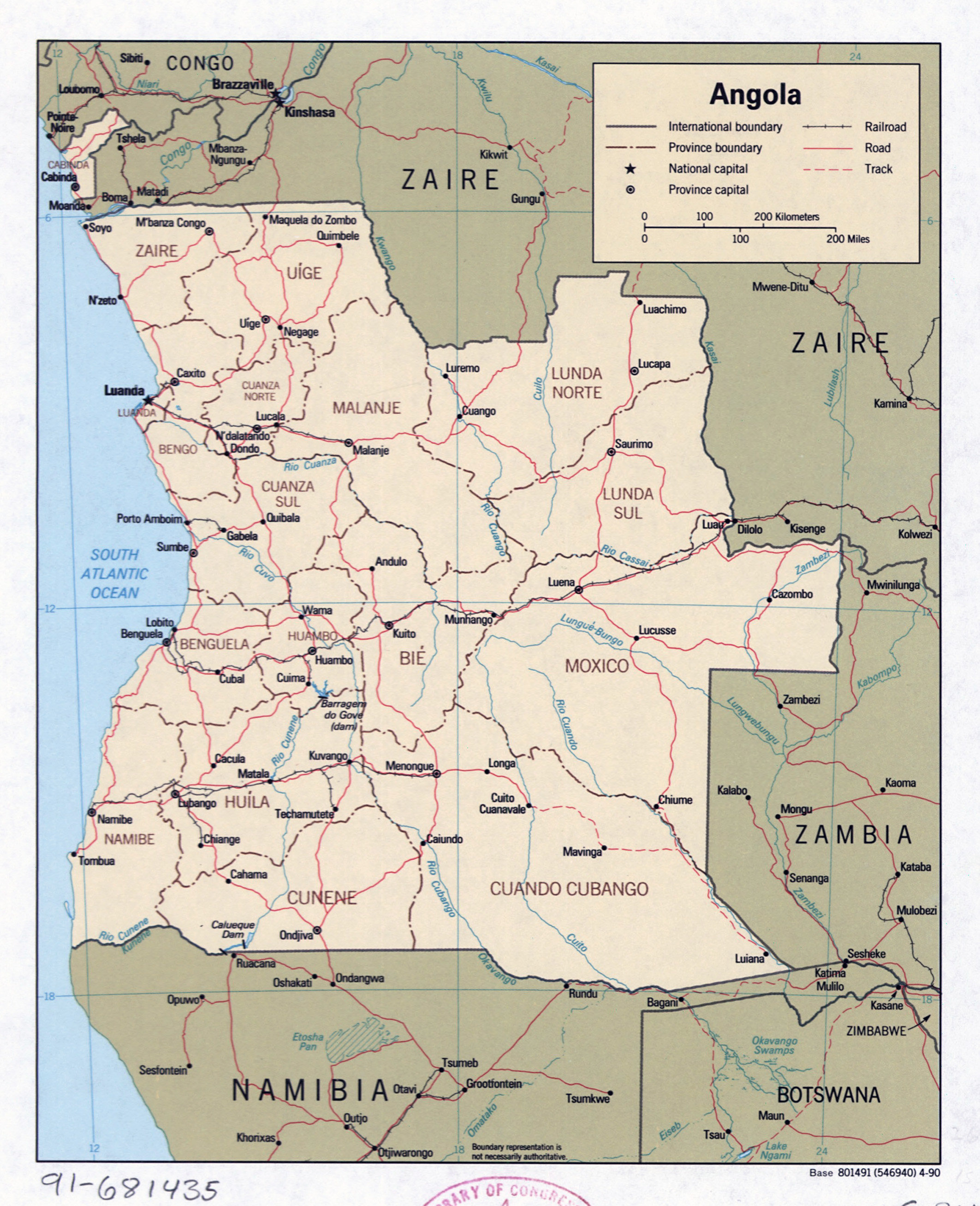 Large detailed political and administrative map of Angola with roads