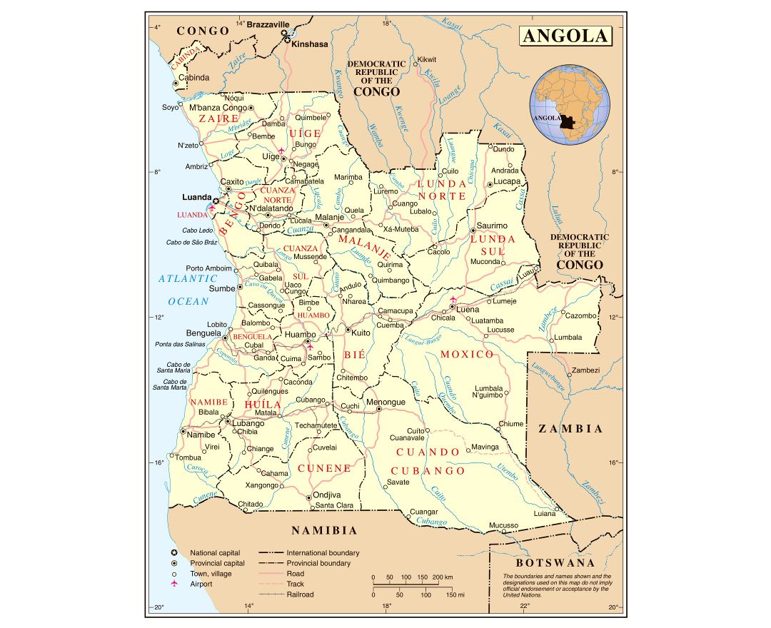 Large detailed political and administrative map of Angola with roads, railroads, cities and airports