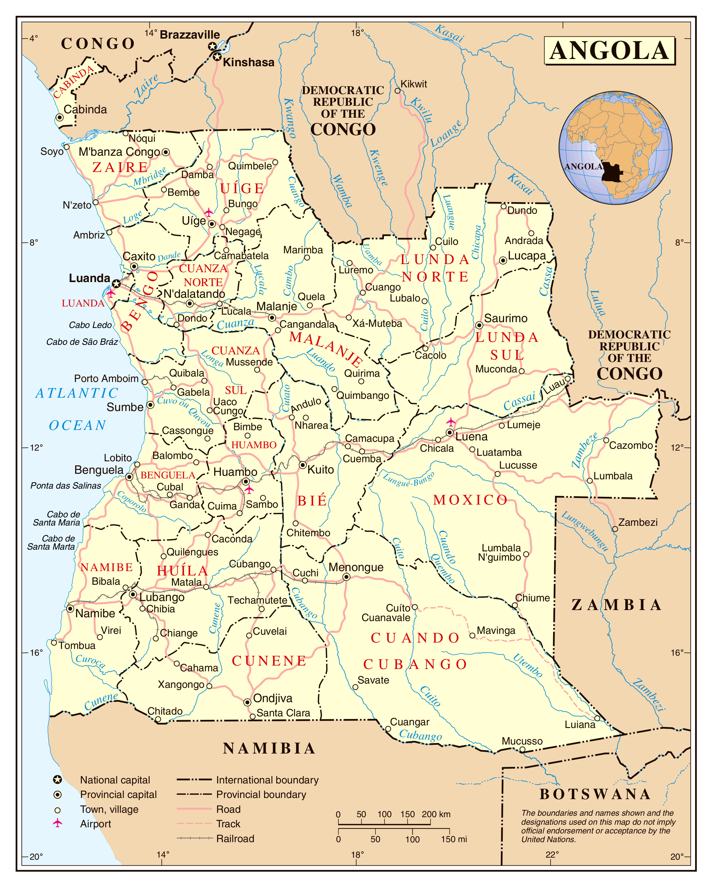 Large detailed political and administrative map of Angola with