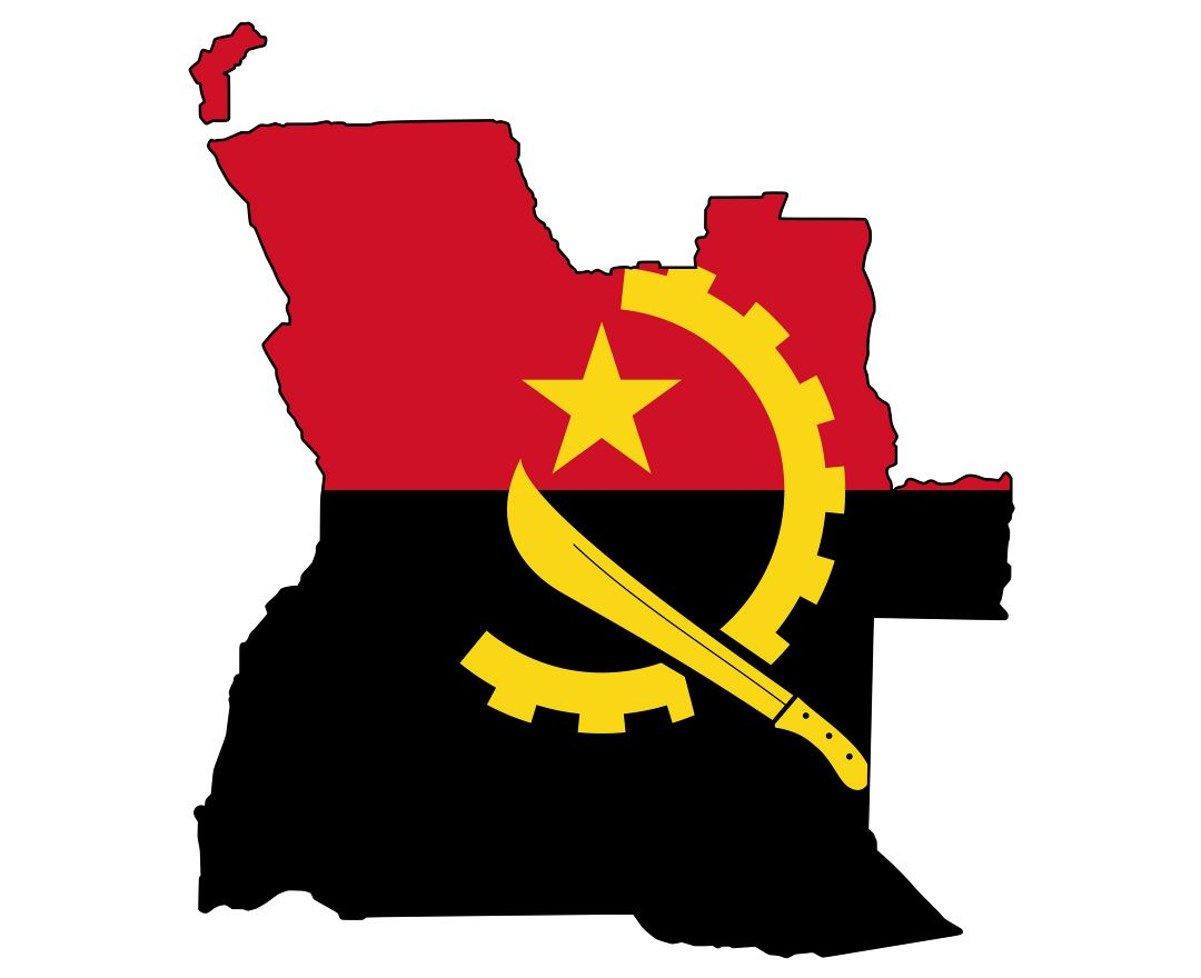 Large flag map of Angola
