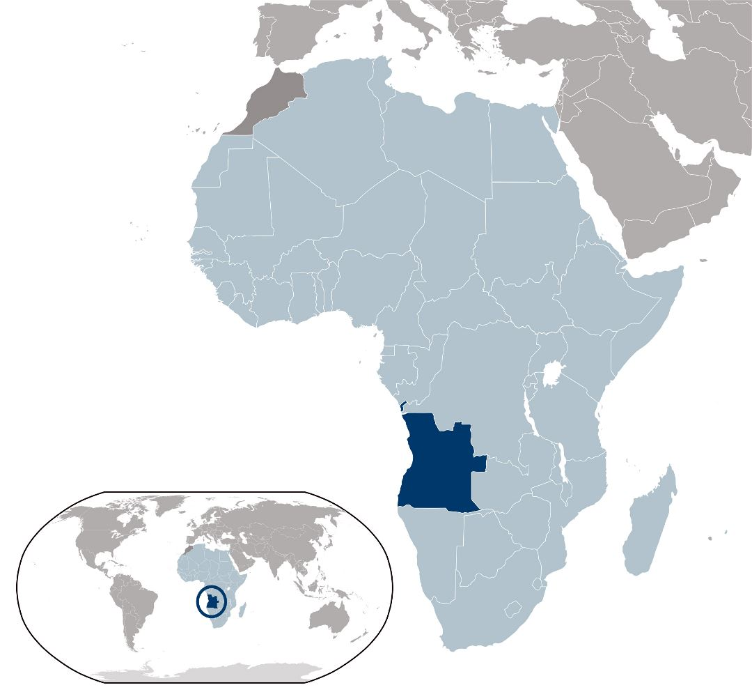 Large location map of Angola