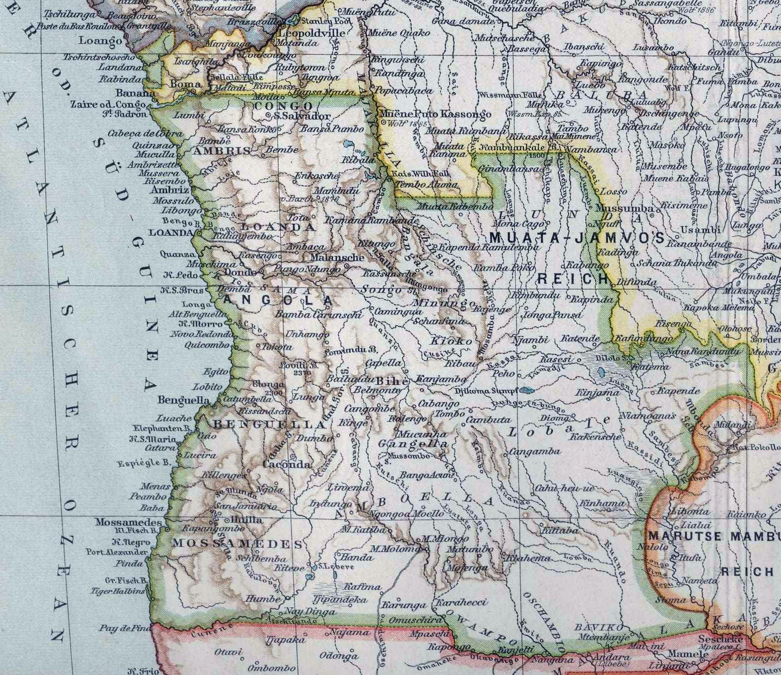 Large old map of Angola with relief 1900 Angola Africa