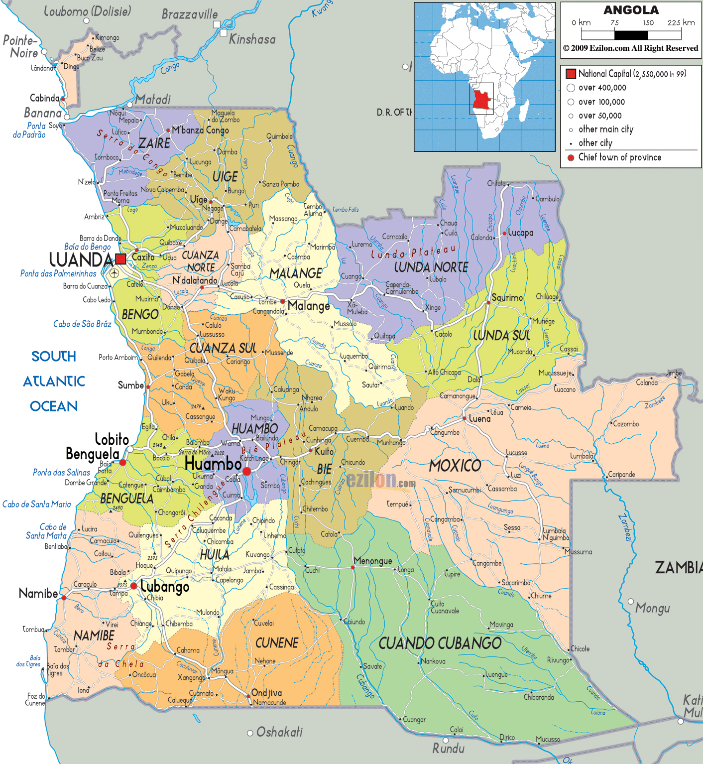 Large political and administrative map of Angola with roads cities