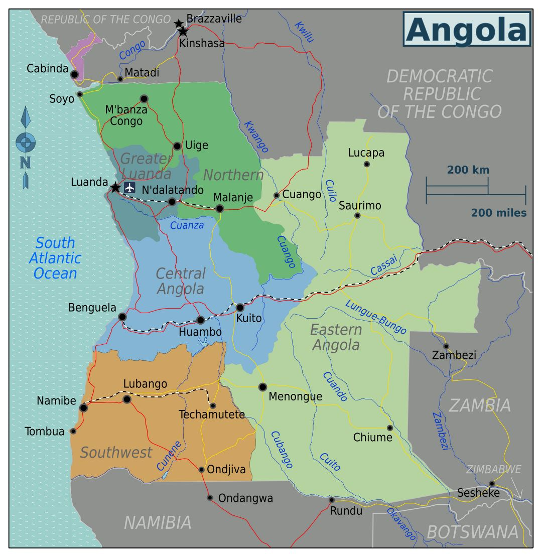Large regions map of Angola