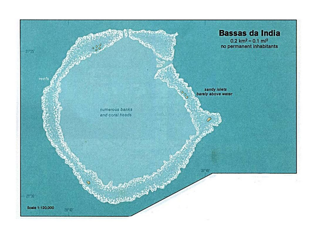 Detailed map of Bassas da India