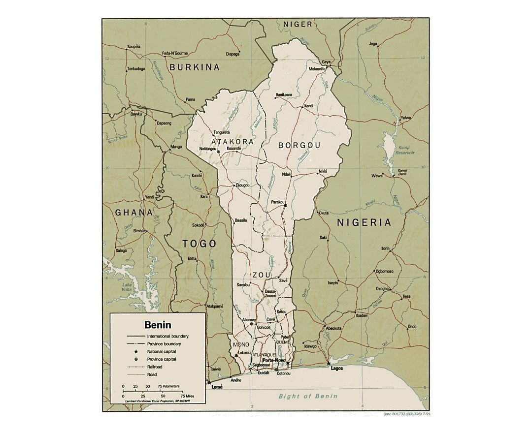 Detailed political and administrative map of Benin with relief, roads, railroads and major cities - 1991