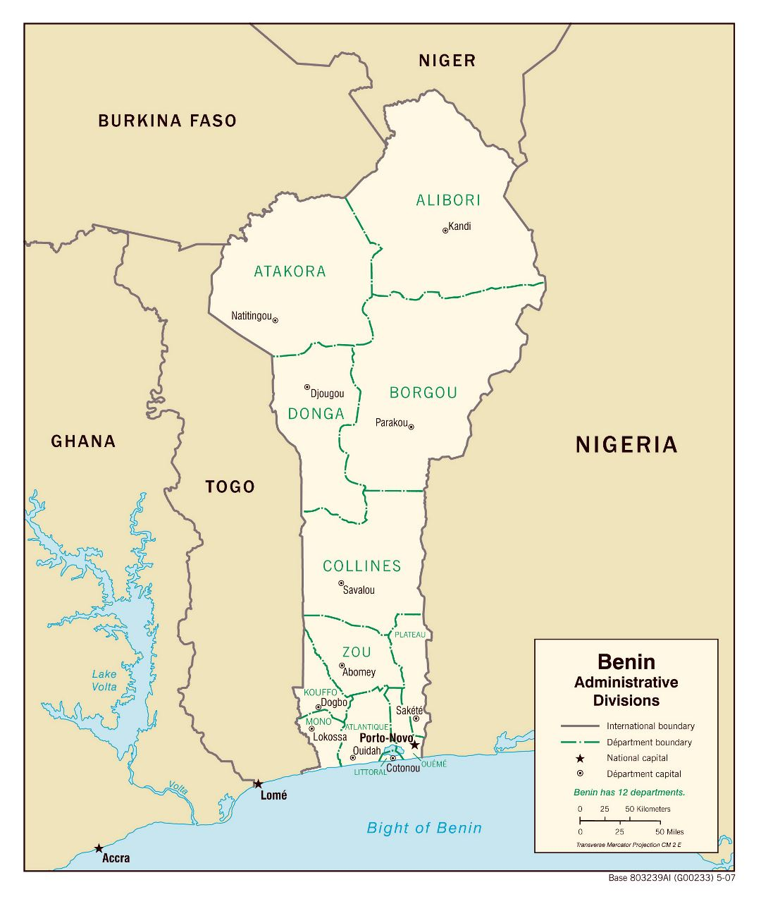 Large detailed administrative divisions map of Benin - 2007