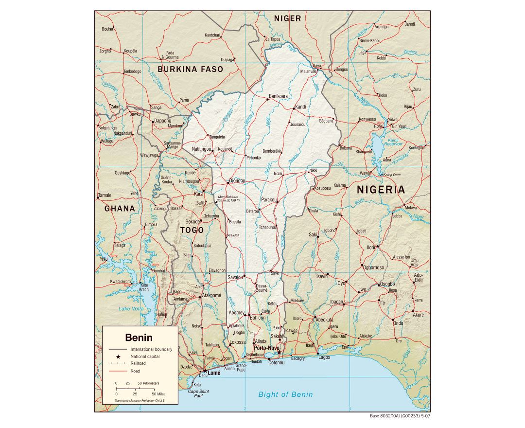 Large detailed political map of Benin with relief, roads, railroads and cities - 2007