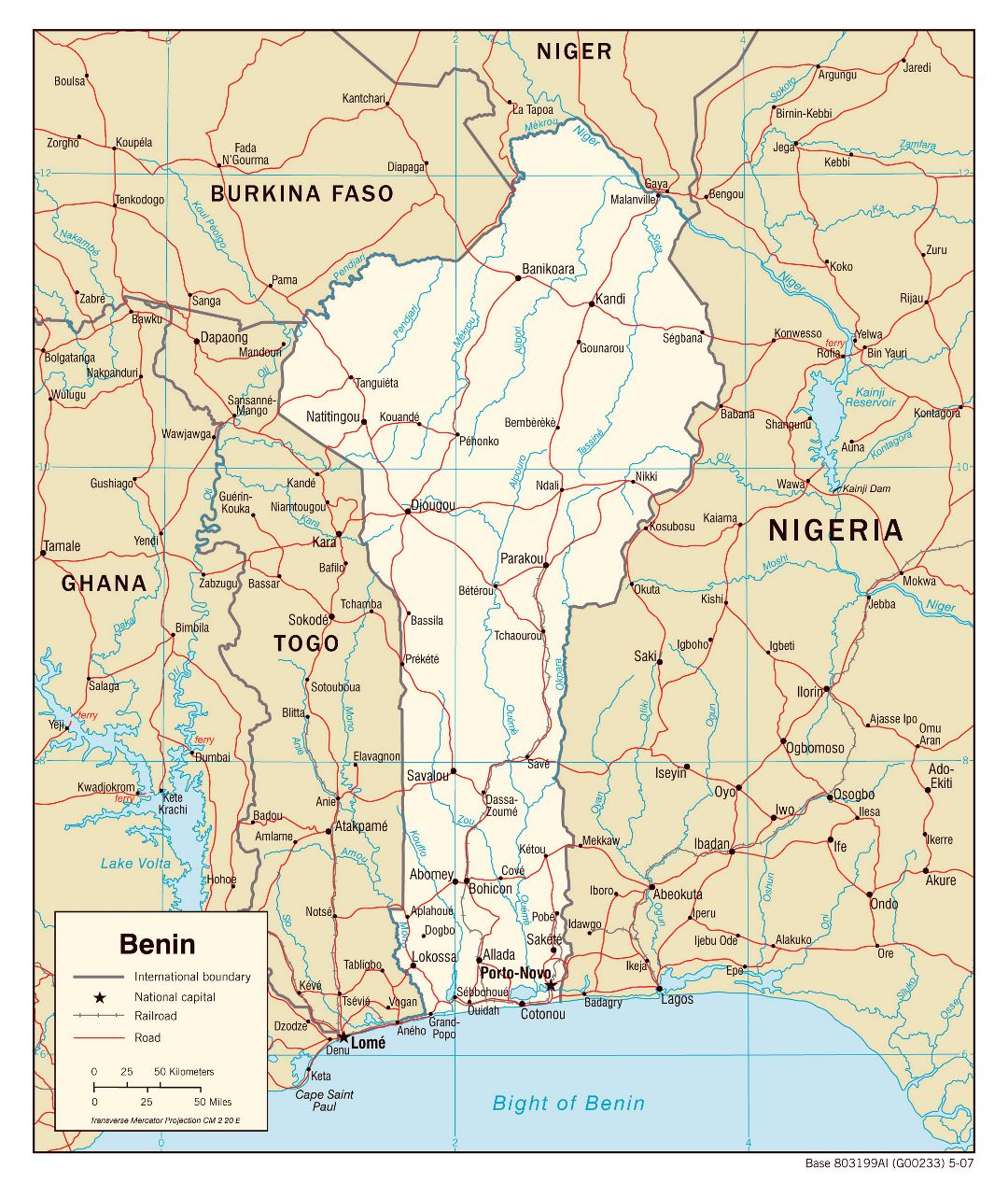 Large detailed political map of Benin with roads, railroads and cities - 2007