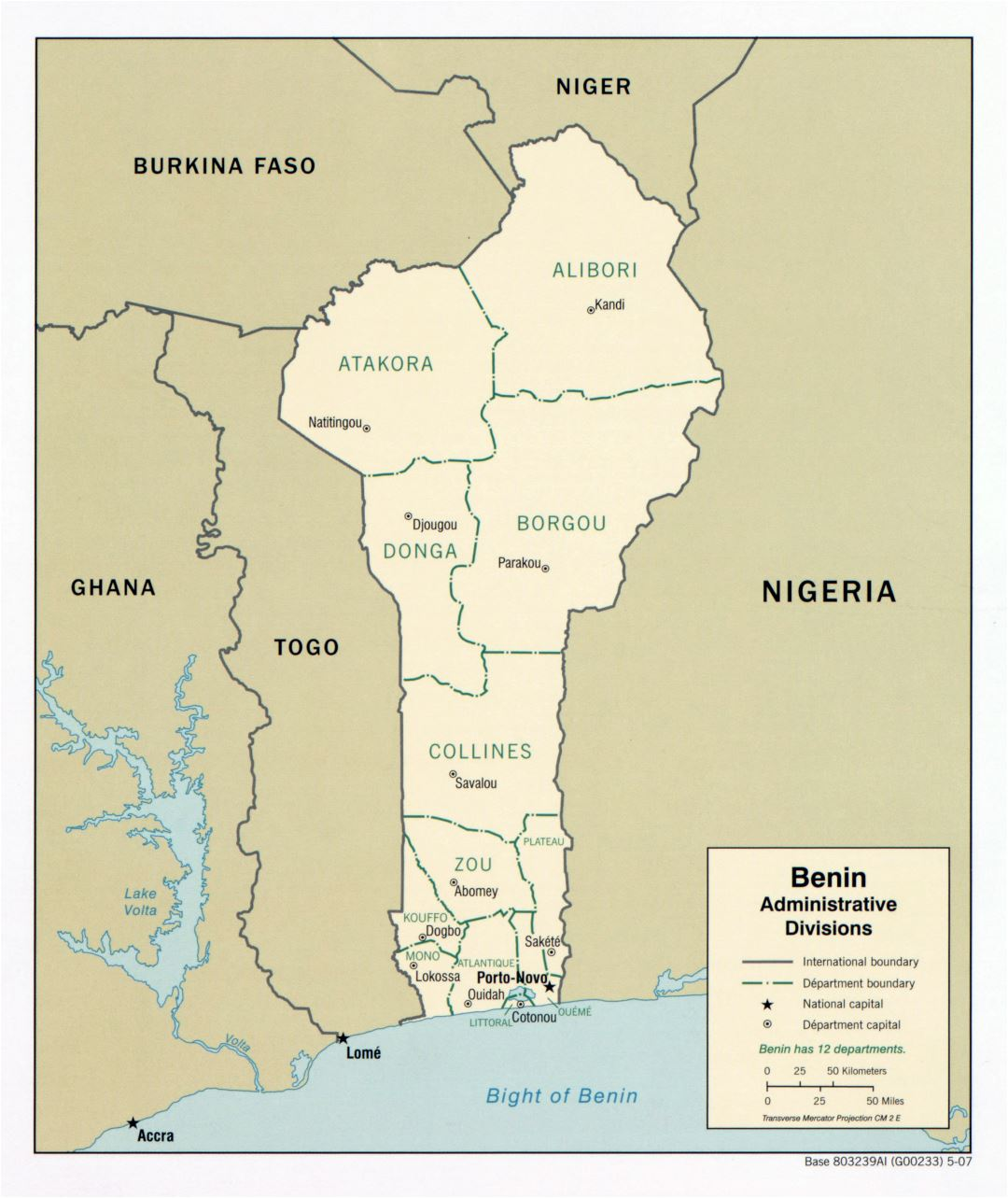 Large scale administrative divisions map of Benin - 2007