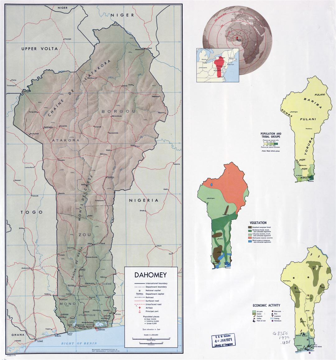 Large scale country profile map of Benin - 1970