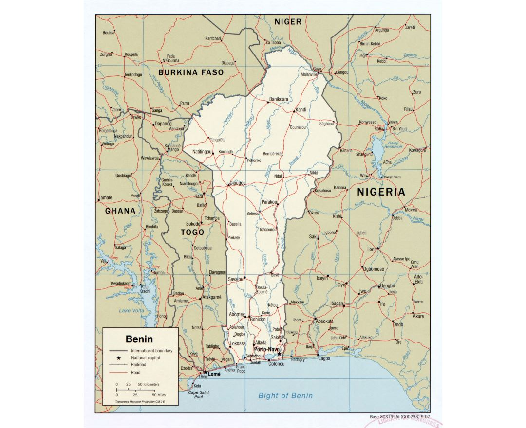 Large scale detailed political map of Benin with roads, railroads and cities - 2007