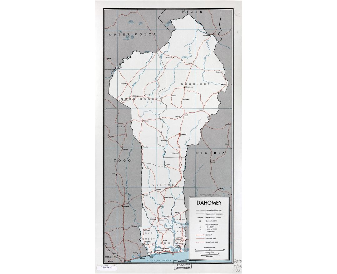 Large scale political and administrative map of Benin with roads, railroads, major cities, sea ports and airports - 1966
