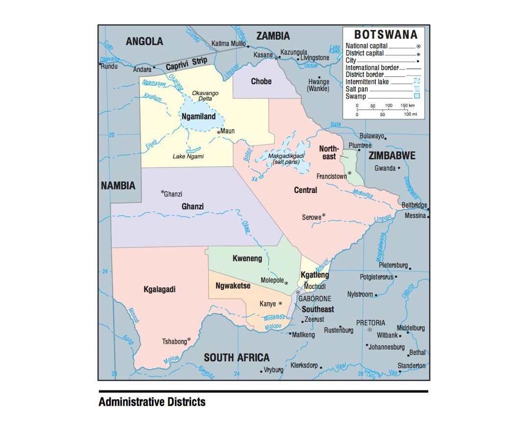 Administrative divisions map of Botswana