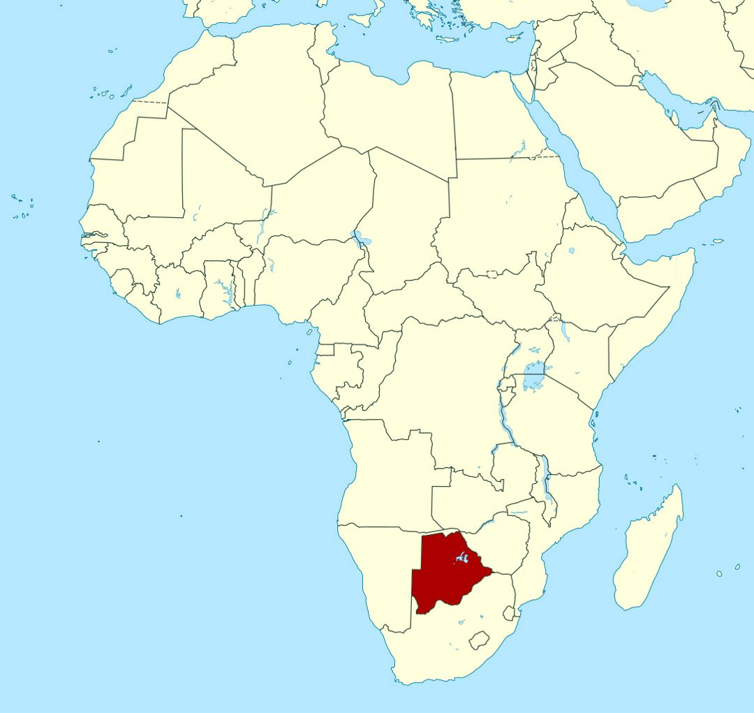 Detailed location map of Botswana in Africa