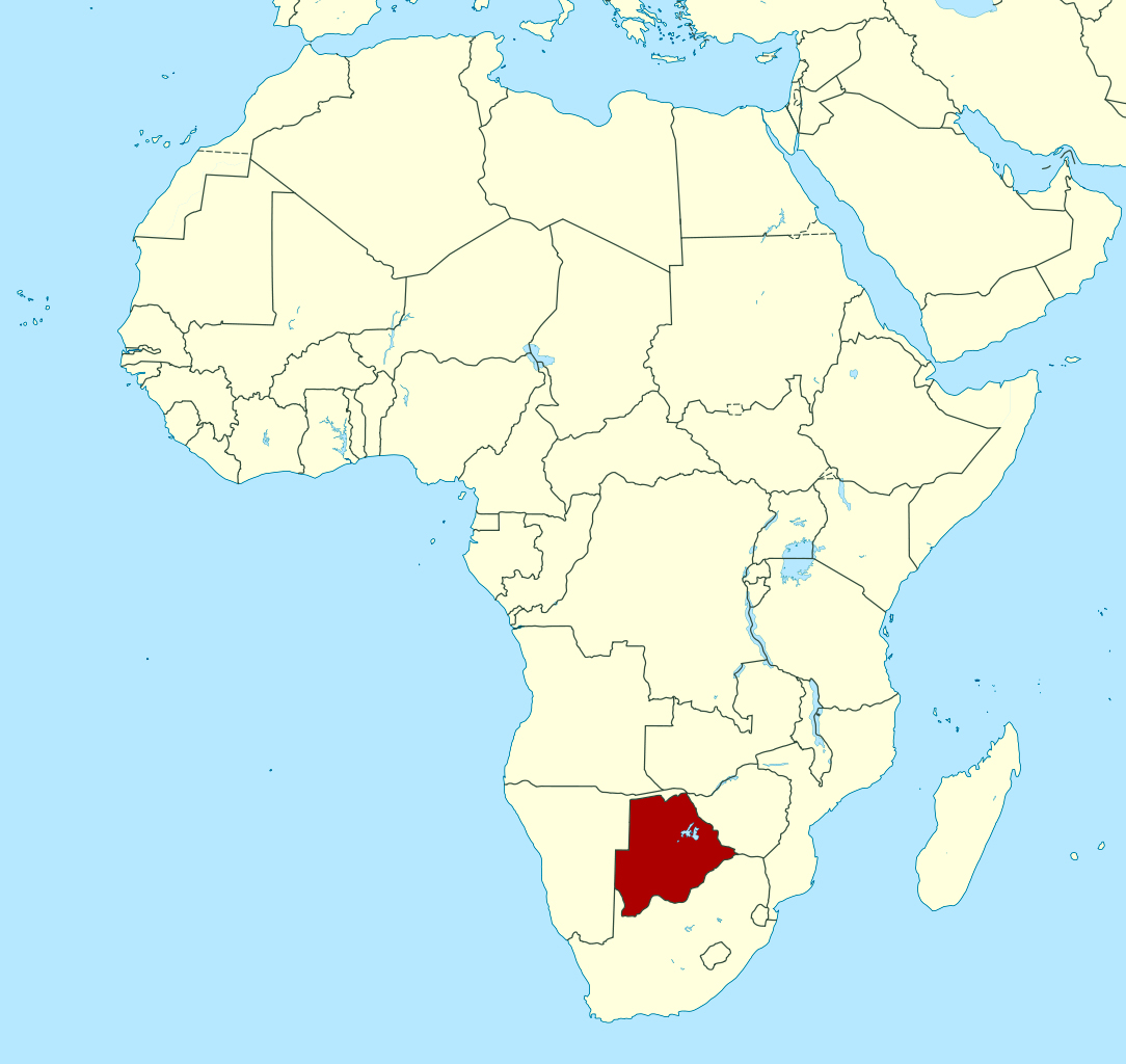 Detailed location map of Botswana in Africa Botswana Africa
