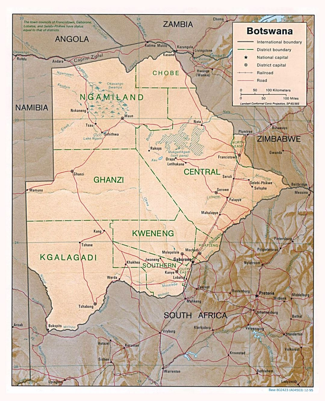 Detailed political and administrative map of Botswana with relief, roads and major cities - 1995