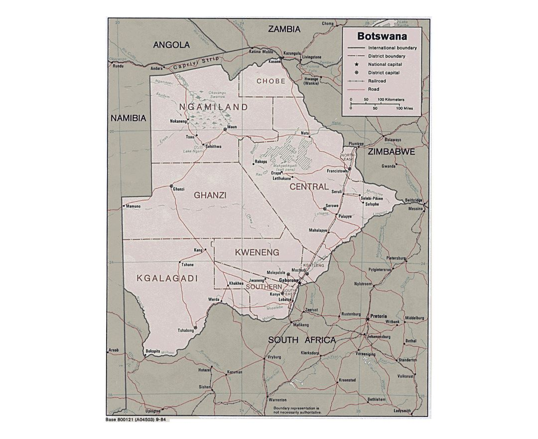 Detailed political and administrative map of Botswana with roads and major cities - 1984