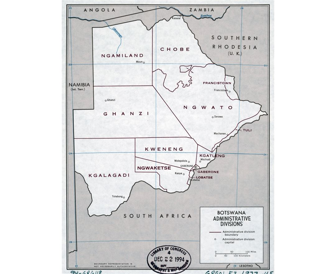 Large detailed administrative divisions map of Botswana - 1977
