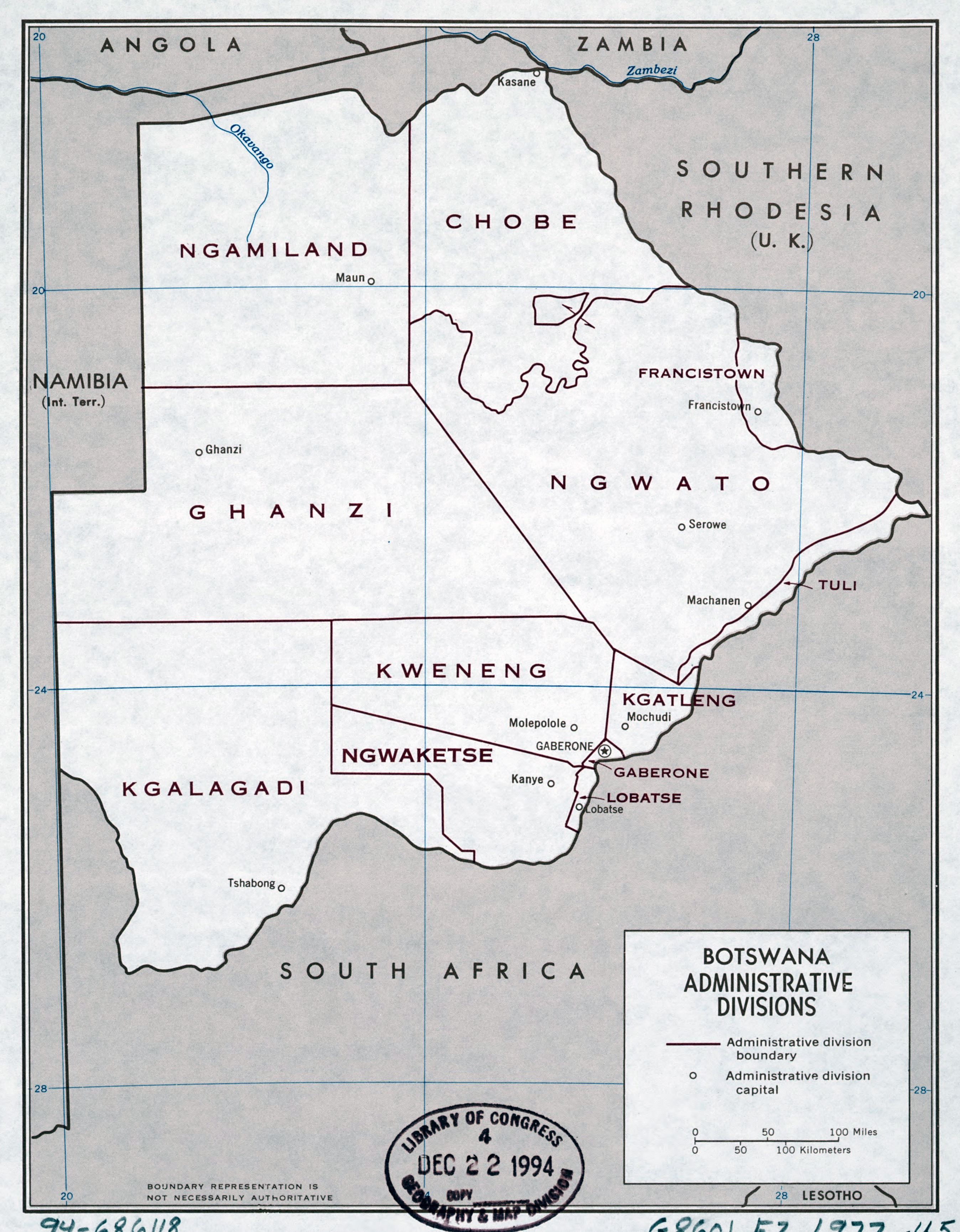 Large detailed administrative divisions map of Botswana 1977
